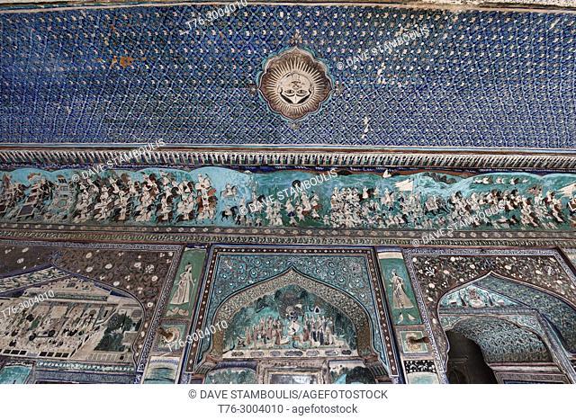 Old frescoes in the Chitrashala gallery in Bundi Palace, Rajasthan, India