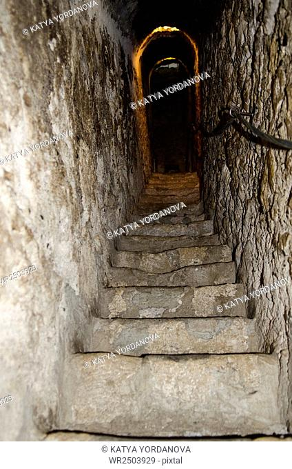 long stone stairway in ancient castle