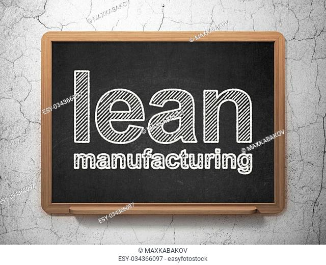 Manufacuring concept: text Lean Manufacturing on Black chalkboard on grunge wall background