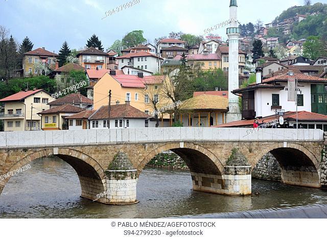 Miljacka river. Seher-Cehajina bridge. Sarajevo, Bosnia and Herzegovina