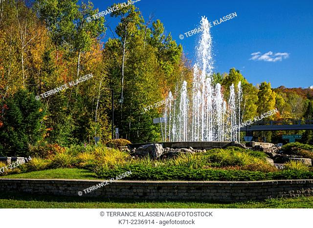 A decorative water fountain near Mont-Tremblant, Quebec, Canada
