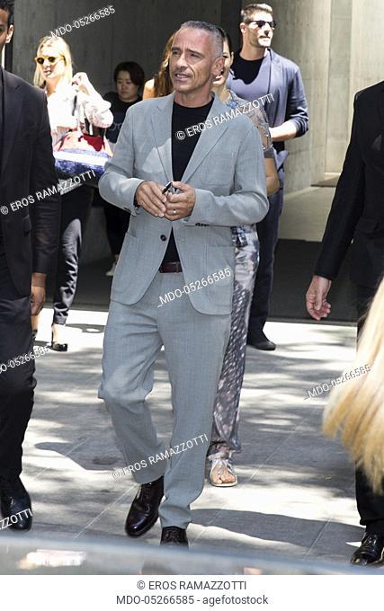 Italian singer Eros Ramazzotti attends at Giorgio Armani catwalk during the Milan Fashion Week Man spring/summer 2018. Milan, June 19th, 2017