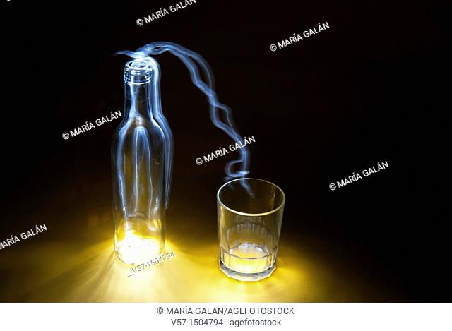 Light-painting with a bottle and a glass