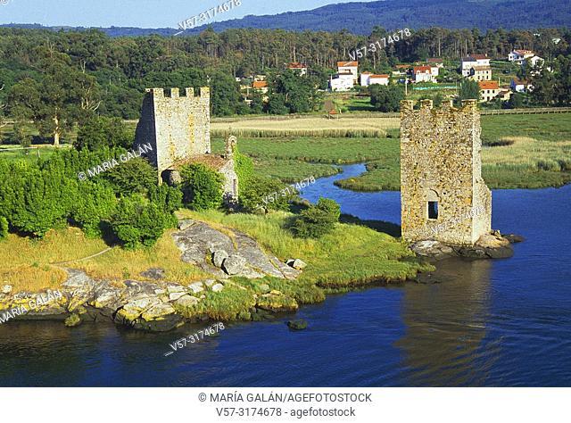 Oeste Towers. Catoira, Pontevedra province, Galicia, Spain