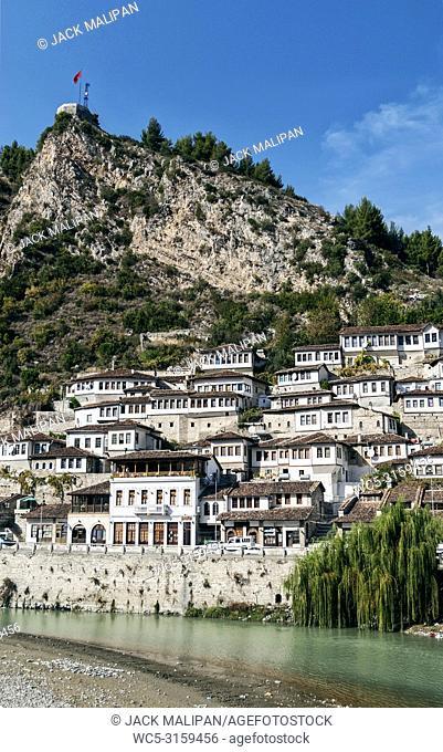 traditional balkan houses in historic old town of berat albania