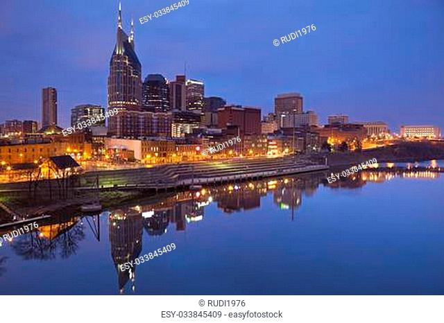 Image of Nashville, Tennessee during twilight blue hour