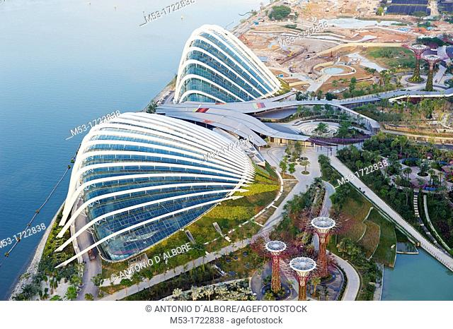 Aerial view of the building site of Gardens By The Bay, a modern concept garden with showcase of horticulture and garden artistry located in Marina Bay  The two...