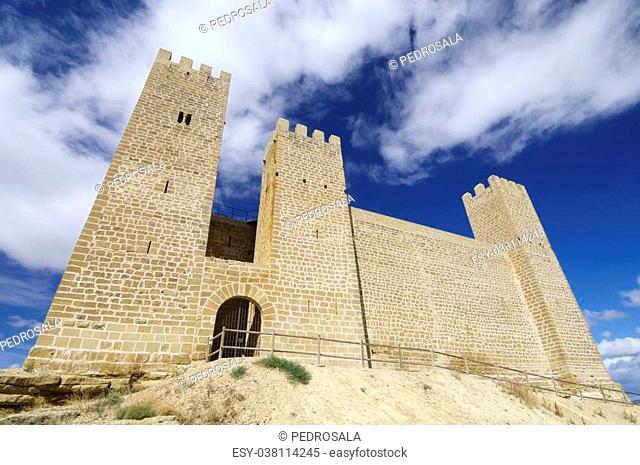 Castle in Sadaba with beauty sky in Saragossa, Aragon, Spain