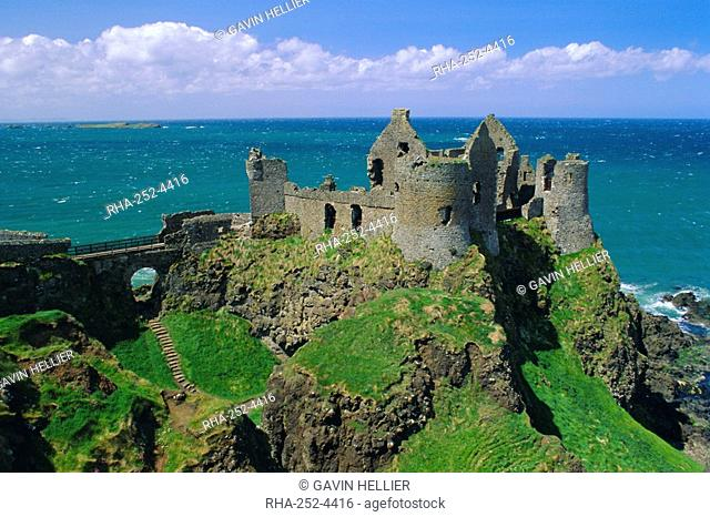 Dunluce Castle on rocky coastline, County Antrim, Ulster, Northern Ireland, UK, Europe