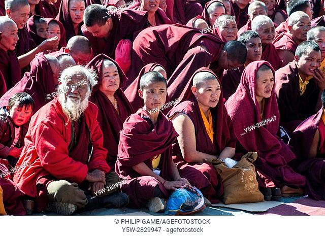 A rapt audience of Buddhist monks and lay devotees at the reception for the 17th Karmapa Lama, a revered Tibetan reincarnation visiting Tawang