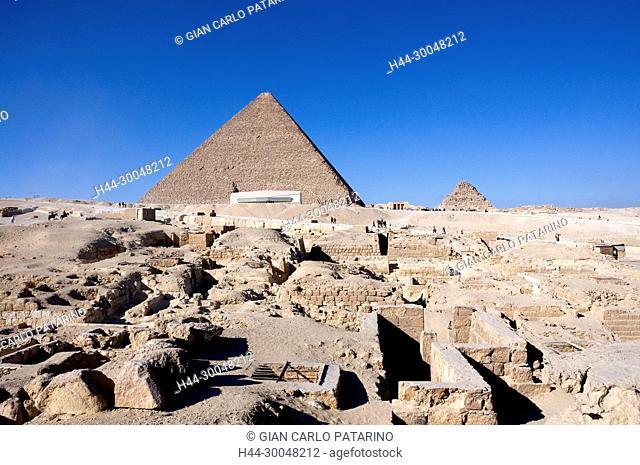 Giza Cairo Egypt:tombs near the pyramid of Cheops (Khufu or Khnumkufu)