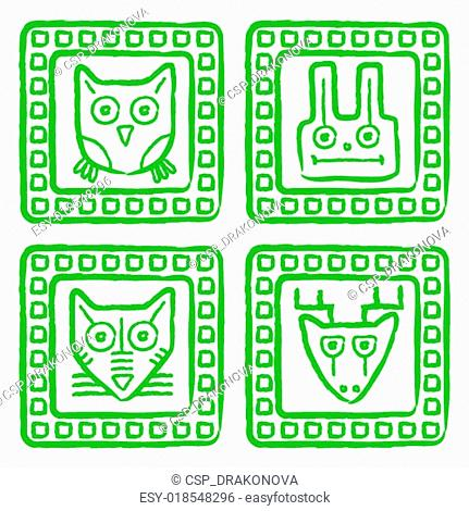 Vector tribal style animal stamps set, mayan ornamental tile