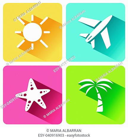 Four summer and tourism icons set with shade. Second group. Vector illustration