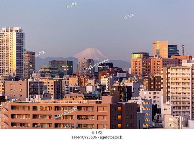Japan, Honshu, Tokyo, City, Skyline and Mt. Fuji