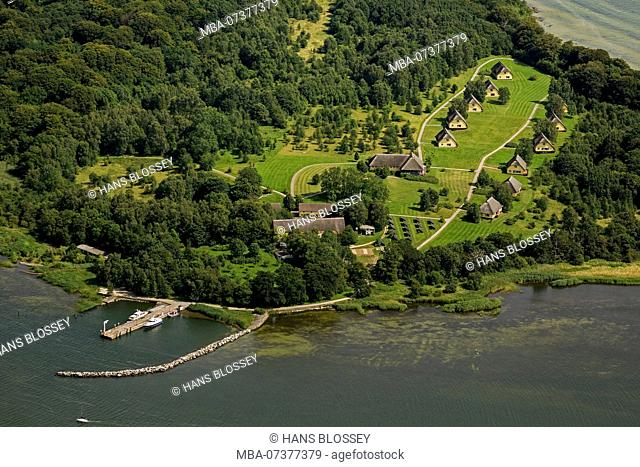 Aerial view, holiday houses on Vilm, holiday island Vilm, island of the former chairman of the state council Honecker, island Vilm, Putbus, island Rügen