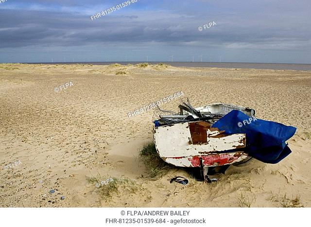 Boat wreck on sandy beach, wind turbines of off-shore windfarm in distance, Scroby Sands, Great Yarmouth, Norfolk, England