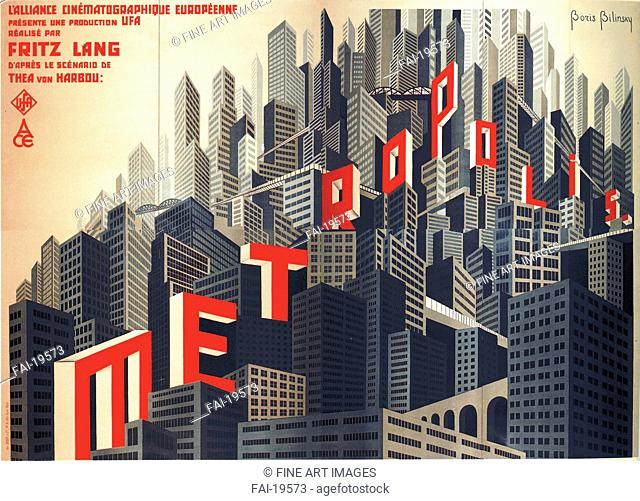 Movie poster Metropolis by Fritz Lang. Bilinsky, Boris Konstantinovich (1900-1948). Colour lithograph. Modern. 1926. Private Collection. Poster