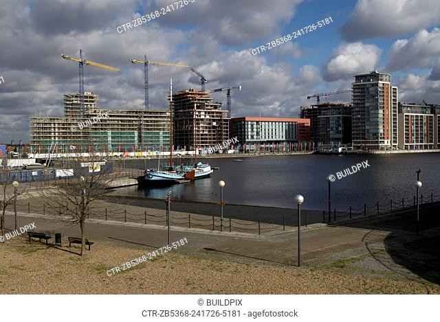 Construction work at the Royal Victoria Dock, East London, UK