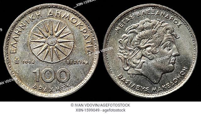 100 Drachmes coin, Greece, 1994