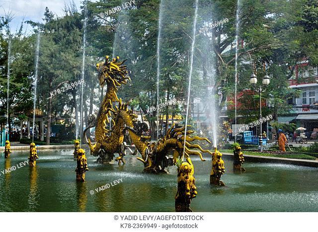 Dragon fountain at Cholon in District 6, Ho Chi Minh City (Saigon), Vietnam