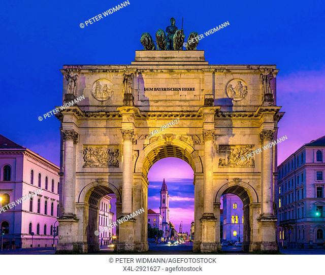 Siegestor - Victory Gate by Night in Munich, Bavaria, Germany, Europe