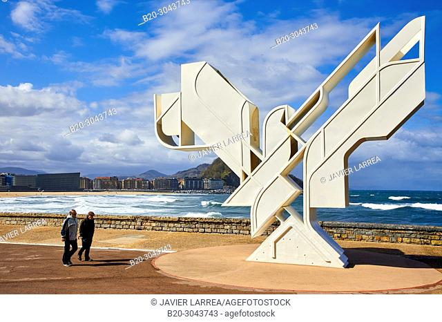 'Paloma de la Paz' by Nestor Basterretxea, Zurriola beach, Donostia, San Sebastian, Gipuzkoa, Basque Country, Spain, Europe