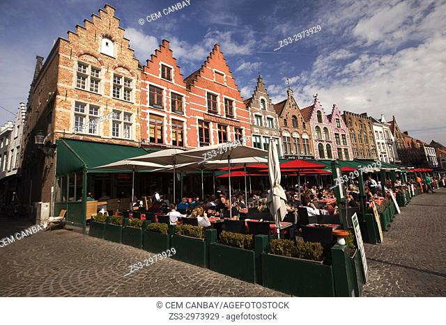 Colorful traditional buildings on the Market Square, Bruges, West Flanders, Belgium, Europe