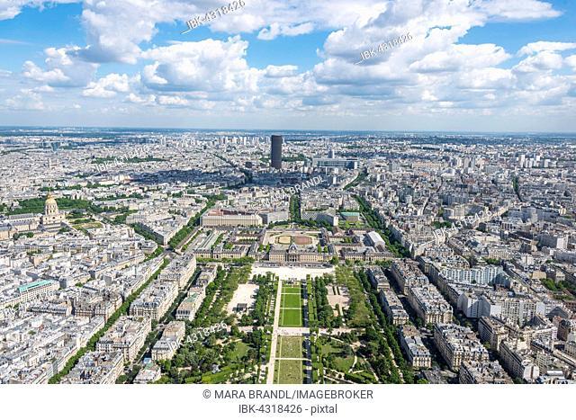Cityscape, view from the Eiffel Tower over Parc du Champ de Mars, Montparnasse Tower behind, Paris, Île-de-France, France