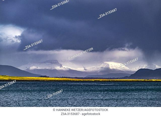 Mountains with heavy clouds, Reykjavik, Iceland