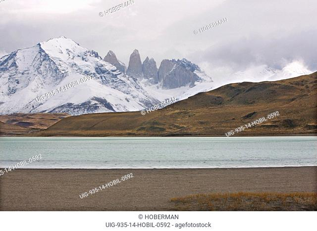 Snow-covered Mountains and Lake, Patagonia, Chile