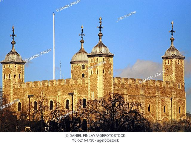 Tower of London in evening light in London, England