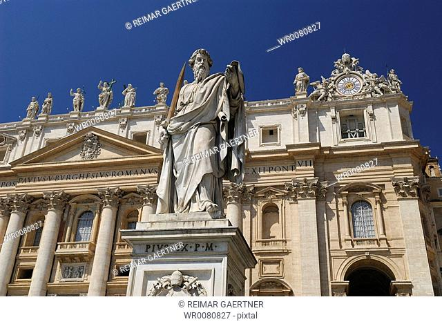 Statue of St Paul in front of Saint Peters Basilica in Rome