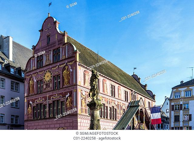 Renaissance former city hall 16th Century and halberdier statue Mulhouse Alsace France
