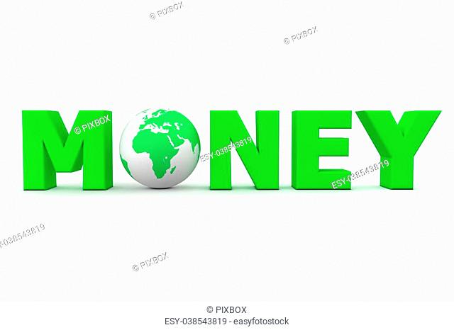 green word Money with 3D globe replacing letter O