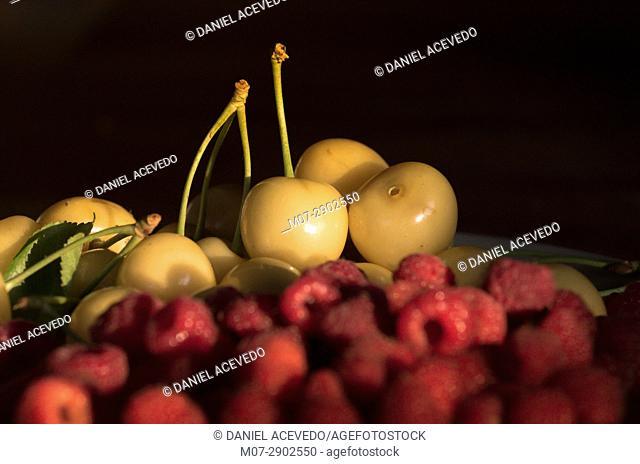 Raspberries & white cherries still life work