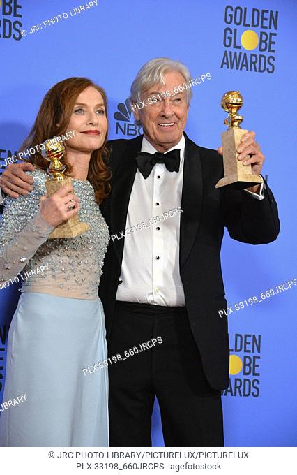 Isabelle Huppert & Paul Verhoeven at the 74th Golden Globe Awards at The Beverly Hilton Hotel, Los Angeles, CA , USA , January 8, 2017