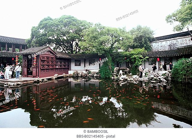 View of tourists by Stupas, Tuisi Garden, Tongli Town, Wujiang City, Jiangsu Province of People's Republic of China