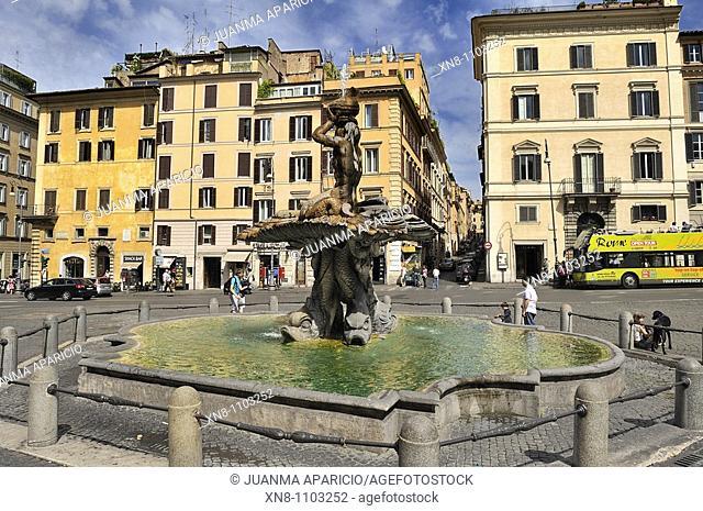 Triton Fountain by Gian Lorenzo Bernini, work in 1643 on the Piazza Barberini, Rome