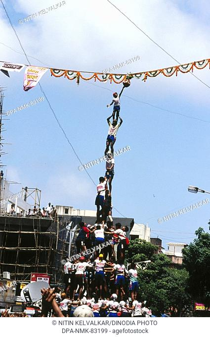 Dahi-Hundies , Human Pyramid , Janmashtami Janmashtami gokul ashtami govinda Festival , dadar, Bombay mumbai , maharashtra , india