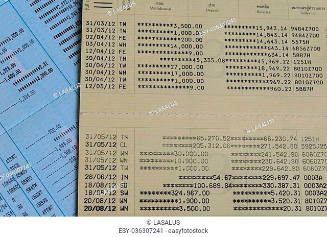 Photo of book bank statement