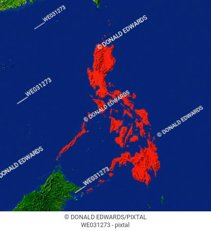 Highlighted satellite image of Philippines