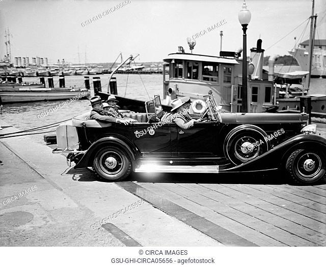 U.S. President Franklin Roosevelt arriving at Annapolis, Maryland, USA, Harris & Ewing, 1935