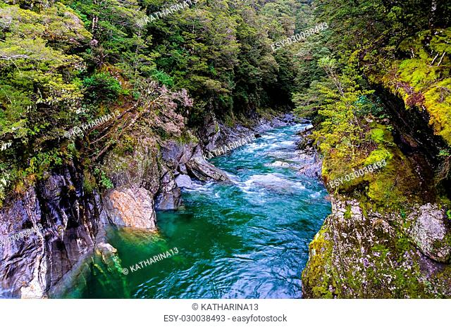 Nature landscape photo of crystal clear Blue Pools in World Heritage listed Mount Aspiring National Park, New Zealand