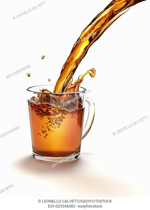 Tea pouring into a glass mug splashing. On a white surface and white background. Clipping path included