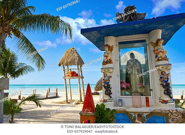 Holbox Island virgin statue in Quintana Roo of Mexico