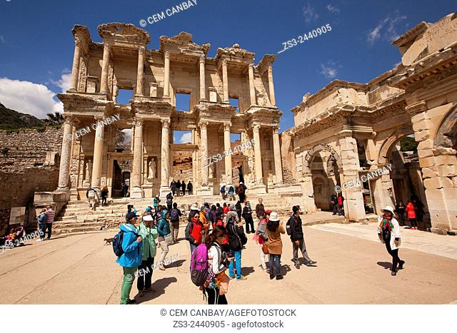 Tourists in front of the library of Celsus at the Roman ruins of Ephesus, Efes, Selcuk, Kusadasi,Turkey, Europe