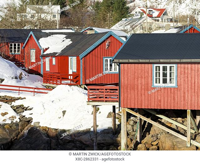 Rorbu, traditial fishing huts, now used as hotel, in the village A i Lofoten on the island Moskenesoya. The Lofoten Islands in northern Norway during winter