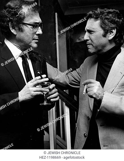 Harold Pinter (1930- ), British playwright with Amos Oz (1939 - ), Israeli writer at a reception for Amos Oz, Friends of Israel