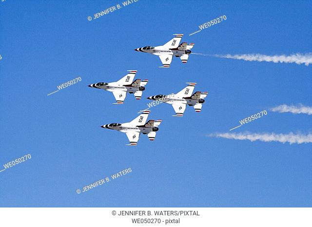 United States Air Force Thunderbirds F-16s in flight during a show at Fairchild Air Force Base near Spokane, Washington, USA