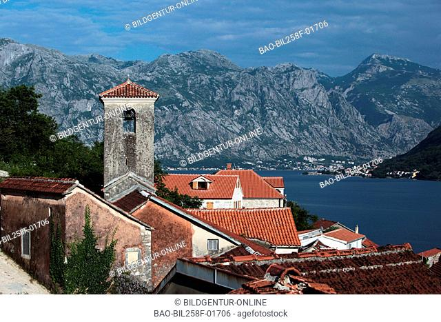 The Old Town of Persat in the internal bay of Kotor in Montenegro in the Balkans at the Mediterranean Sea in Europe